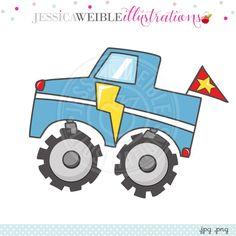 Monster Truck Doodle Digital Clipart - JW Illustrations