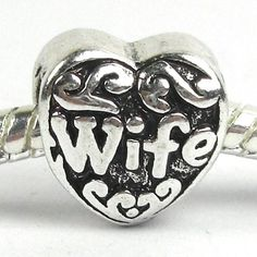 """ Wife Heart "" Charm for Pandora Chamilia Kay's Troll European Story Charm Bracelets"