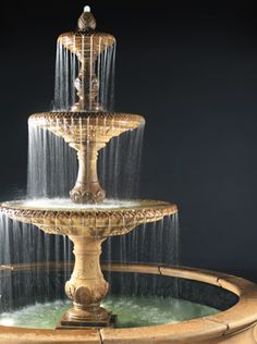 Fiore Stone, Inc. Four Seasons Fountain, 3-Tier with 12-foot Bracci Basin. c.