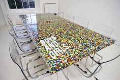 We always say LEGO bricks set is not only a great toy. Artworks or models can be created by LEGO bricks. And of course there's a huge LEGO boardroom table by ab Lego Furniture, Table Furniture, Cool Furniture, Furniture Design, Unusual Furniture, Minecraft Furniture, Recycled Furniture, Office Furniture, Lego Design