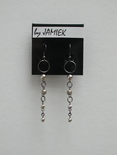 Earrings Tarnished Silver Drop Ring Chain Dangles