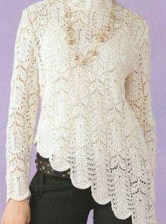 Белый пуловер с ассиметричным низом