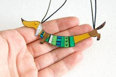 Dachshund dog necklace Animal jewelry green by lacravatteduchien