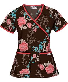 U68DGC UA Women's Dusk in the Garden  Coffee Bean Mock Wrap Scrub Top http://www.uniformadvantage.com/pages/prod/u68dgc-floral-scrub-top.asp