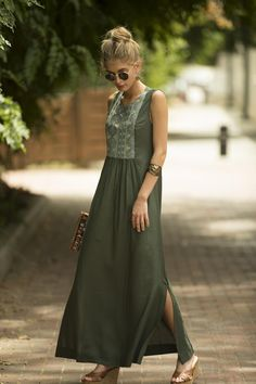 Sage Green Maxi Dress Long Kaftan Dress Tribal Ethnic Long