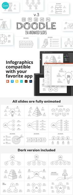150 animated Doodle infographics templates for your presentation. For editing you can use Canva, Microsoft PowerPoint, Adobe Illustrator, Adobe Photoshop or Keynote. Ppt Design, Graphic Design Templates, Design Ideas, Best Presentation Templates, Free Doodles, Microsoft Powerpoint, Vector Shapes, Keynote, Infographics