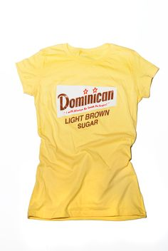 Dominican Women have much pride for their country and heritage. I designed this tee with that in mind and added a little fun to representing your home land with this remixed Domino Sugar logo representing Dominican Republic.  All t-shirts are screen printed by hand using soft to the touch inks.   100% Ring spun Cotton . Super soft with a slight stretch for a perfect fit. Longer length, slightly scooped neck, fashionably shorter sleeves.  Available @ http://united-five.com/