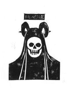 linocut, die after, skull