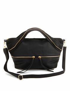 Zipper Trim Faux Leather Bag Charlotte Russe