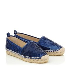 Jimmy Choo Paksa Aegean Double Faced Sequins and Nappa Leather Flat Espadrilles.
