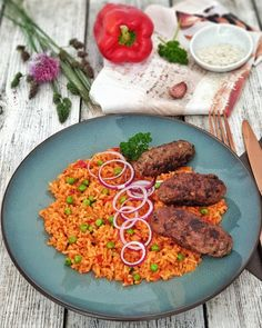 Cevapcici with Djuvec rice - Healthy Food List, Healthy Snacks, Inexpensive Meals, Food Blogs, Eating Habits, No Cook Meals, Fish Recipes, Family Meals, Meal Planning
