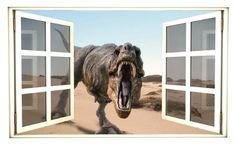 24 Window Scape Instant View TRex TREX dinosaur 1 Wall Decal Graphic Sticker Mural Home Kids Game Room Office Art Decor -- Details can be found by clicking on the image.