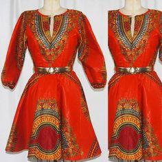 Elegant Dashiki Orange Flare Dress Women's by ChristalinePrints