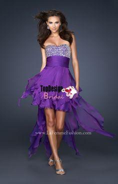 Wholesale vestido de festa free shipping purple beading high-low short dama dress 17687