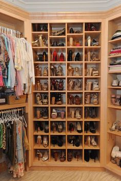 I so want this walk in closet with shoe storage! (by Webber Coleman Woodworks)
