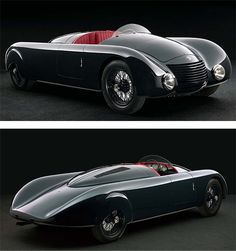 Alfa Romeo 6C 2300 Aerodynamica Spider    The 1935 Alfa Romeo 6C 2300 Aerodynamica Spider is a beautiful piece of automotive design and a car that was ahead of its time – mid engine, central driving position and aerodynamic pontoon body work.