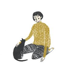 ABBEY LOSSING, illustration, design, human character, cat, simple, drawing