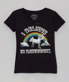 David   Goliath Black  I Believe in Caticorns  Rainbow Tee - Girls e2d81f4d06479