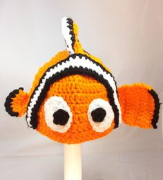 A personal favorite from my Etsy shop https://www.etsy.com/listing/180458333/nemo-fish-inspired-orange-hat