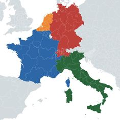 if regions of belgium and switzerland merged with neighboring countries based on the most spoken language map