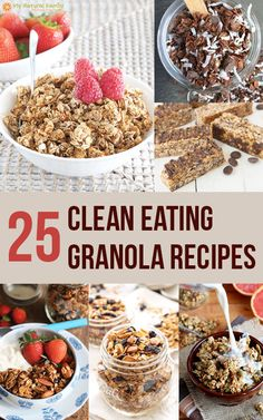When I was doing some research of clean eating granola recipes, I decided that they were all so different AND healthy that I had to just share them. :)