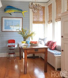 nautical kitchen nook. No fish, but I do like the banquet bench