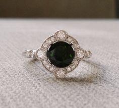 Estate Halo Chrome Diopside Diamond Antique Engagement Ring