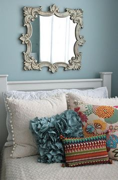 Oh how I love this color (and mirrior) Sherwin Williams Tradewind paint