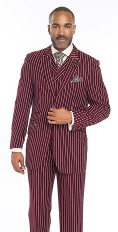 Eye Catching Burgundy Wine Striped Classic Suit For Men. Jacket Bold Stripe suit features side vents. Vest Double Breasted.   eBay!