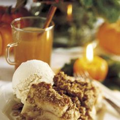 Apple Crumble and Vanilla Ice Cream... Add extra cinnamon, anise and nutmeg! Yum!