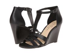 essica Simpson - McCorde  Price: $52  Step out in sleek style with these gorgeous wedge sandals! Adjustable buckle closure at ankle strap. Leather upper with strapped vamp. Man-made lining. Lightly cushioned man-made footbed. Stacked heel. Man-made sole. Imported. Measurements: Heel Height: 3 3 4 in