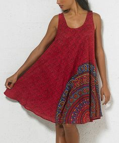Love this Red Mandala Scoop Neck Dress - Women on #zulily! #zulilyfinds. Love the design!