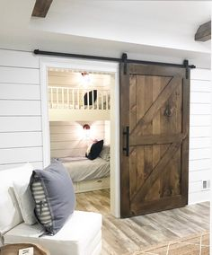 Small Bunk Room Ideas Custom Bunk beds in closet bunk beds small spaces The custom barn door opens to an adorable bunk room with shiplap - September 14 2019 at Custom Bunk Beds, Modern Bunk Beds, Modern Bedroom, Bunk Beds Built In, Kids Bunk Beds, Build In Bunk Beds, Small Bunk Beds, Pallet Bunk Beds, Small Rooms