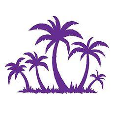 Palm Trees Tropical Island Ocean Purple Auto Car Bumper W...