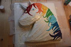 unicorn rainbow cake nearly finished