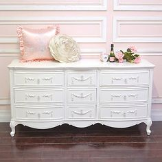 Shabby Cottage Chic 9 Drawer Dresser White French Vintage Style Roses
