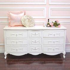 Shabby Cottage Chic 9 Drawer Dresser White French Vintage Style Roses