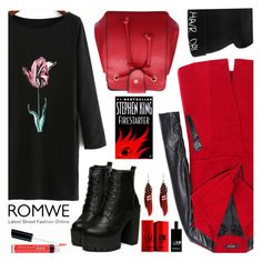 """""""ROMWE CONTEST: RED PU SATCHEL BAG"""" by the-reluctant-dragon ❤ liked on Polyvore featuring Comme des Garçons, Bare Escentuals, women's clothing, women's fashion, women, female, woman, misses and juniors"""
