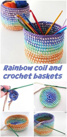 How to make these cute mini baskets with a coil of t-shirt yarn or cord and then crochet over it.  Pretty.
