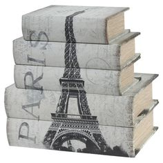 Stow trinkets or cherished keepsakes in distinctive style with these paper-wrapped wood storage boxes, featuring charming book-inspired silhouettes and Paris...