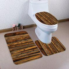 Vintage Wood Flooring Pattern 3 Pcs Bathroom Toilet Mat