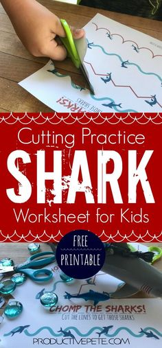 """This Shark Scissor Skills worksheet is perfect for Shark Week fun, an Ocean Unit at School, or as a fun cutting practice activity at home. Fine Motor Activity for kids that will have them increasing their fine motor skills, all while """"chomping"""" Sharks! Fine Motor Activities For Kids, Dinosaur Activities, Motor Skills Activities, Kindergarten Activities, Infant Activities, Preschool Activities, Cutting Activities For Kids, Dementia Activities, Dinosaur Art"""