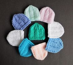 I decided to make micro-preemie sizes of a few of my little hats - perfect for very early premature babies or Angel babies born too soon. I decided to make micro-preemie sizes of a few of my little hats - perfect for very early premature Baby Hat Knitting Patterns Free, Baby Hat Patterns, Baby Hats Knitting, Free Knitting, Crochet Patterns, Knit Hats, Free Pattern, Crochet Preemie Hats, Baby Hut