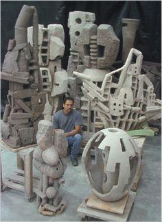 Geocubic • John Balistreri Water Sculpture, Concrete Sculpture, Concrete Art, Sculpture Clay, Abstract Sculpture, Pottery Sculpture, Pottery Art, Sculptures Céramiques, Found Art