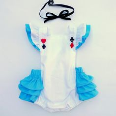 Alice Ruffle Romper handmade in USA by Sunshine baby clothing girl toddler dress ruffle bow alice in wonderland disney disneyland