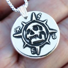 Pirate Compass Sterling Silver necklace Skull by RingRingRing