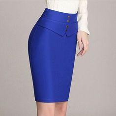 Moda Femenina Fashion Chic Pencil Skirts Ideas For 2019 Blue Skirt Outfits, Pencil Skirt Outfits, Pencil Skirts, Work Skirts, Dresses For Work, Royal Blue Skirts, Office Skirt, One Step, Ladies Dress Design