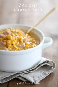 The best cheesy corn - an incredible side for dinner or dip for parties. #Recipe #PartyFood #Corn