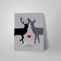 Personalized anniversary gift, Personalized Wedding Gifts, Deer Doe with heart, Romantic gift, valentine gift, gift for wife