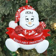 #Personalized #Baby's First #Christmas #Snowman #Ornament